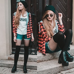 Karolina N. - Zoio T Shirt, Lee Shorts, Zaful Beanie, Rosegal Shirt - SHOPAHOLIC.
