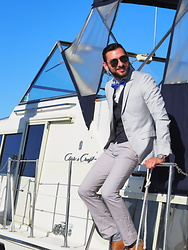 Hector Diaz - Topman Platinum Gray Suit, J. Crew Navy Blue Vest, J. Crew Camo Socks, Aldo Brown Oxfords - When Rails Meet Sails