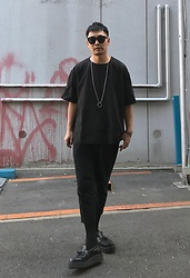 ★masaki★ - Ch. Oversized Tops, Ch. Cropped Trousers, George Cox Tussel Creepers - Tencel⚫️Linen⚫️Leather⚫️