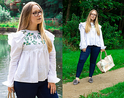 Emma Reay - Brenda Shop White Embroidered Blouse - The Frilly Shirt