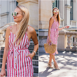 Madara L - Shein Linen Striped Dress, Ebay Straw Bag, Asos White And Gold Sunglasses - End of summer
