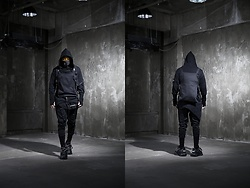 INWON LEE - Byther Techwear Hoodie, Byther Techwear Vest Bag, Byther Large Cargo Baggy Pants, Balenciaga Track Shoes - Modern Techwear Black