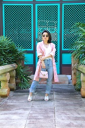 Kristen Tanabe - Vintage Banana Republic Pink Rose Embroidered Duster Coat, Topshop Straight Jeans, Topshop White Scoop Neck Tank, Forever 21 Petite Pink Purse, Who What Wear White Mules, Vintage Dior Gold Earrings, Miu Butterfly Sunglasses - Vintage Romance