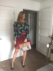 Cindy Batchelor -  - Green floral blouse and red tulle skirt