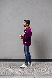 Kevin Elezaj - Vagabond Sneakers, Topman Trousers, Tommy Hilfiger Sweater - Purple