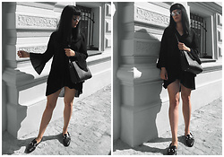 Izabela - Zara Shirt Dress, Zara Pearls Loafers, Sabrina Pilewicz Monopoli Bag, Christian Dior So Real Sunnies - BLACK SHIRT DRESS