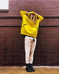 Dustin Faires - Dr. Martens Black Boots, Thrifted Women'S Trousers, Target Yellow Rain Jacket - D U C K L I N G