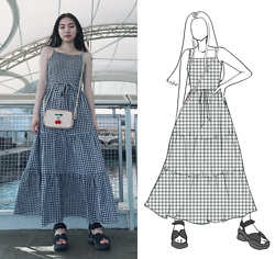 Yonish - Old Navy Gingham Maxi Dress, Zaful Knit Cherry Bag, Monki Velcro Platform Sandals - Cherry Summer