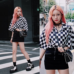 EUNBI EB - Forever 21 Skirt - Black check