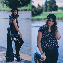 Audrey - Only Tee, H&M Cap, H&M Jeans, Converse Sneakers, Primark Bag - Cherry