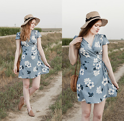 Emily S. - Zaful Wrap Dress, Unbranded Sunhat, Free People Royale Flats, Unbranded Woven Bag - September Blues