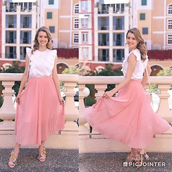Heidi Landford - Seed Heritage Pink Pleated Midi Skirt, Wittner Floral Heels, Topshop White Broderie Anglaise Top - Pink Pleats