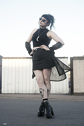 Amy Souter - Naomi Shu Amy Stardust Shoe, Thrifted Sheer Black Shirt, Primark Black Denim Mini Skirt, Select Crop Top - ALL BLACK EVERYTHING