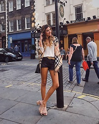 Giuliana ♡ - Asos Clogs, Prada Black Purse, Burberry Plaid Scarf, Perry Ellis Vintage Belt, Zara White Blouse, H&M Black Denim Shorts - Out and About ✨