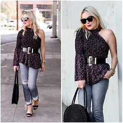 Zia Domic - Cece By Cynthia Steffe One Shoulder Top, Hidden Jeans Distressed Denim - One Shoulder