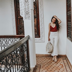 Imena Ginac - Gina Tricot White Trousers, Zara Lace Top - How to wear white trousers