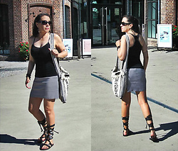 Nikolatina - Cotton On Black And Silver Top Tank, Zara Grey Miniskirt, Mexican Craft Hand Made Shoulder Bag, Indiska Strapped Up Flat Sandals - Laced Up