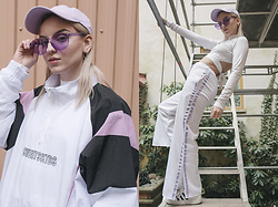 Rebecka Bjurmell - Sweetsktbs Cap, Junkyard Shades, Sweetsktbs Jacket, Junkyard Crop Top, The Ragged Priest Pants, Adidas Sneakers - SWEETSKTBS