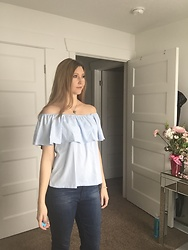 Cindy Batchelor - Blue Off The Shoulder Ruffle Top - Blue off the shoulder Ruffle Top and Jeans