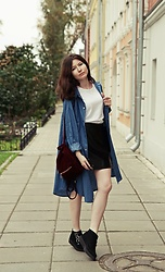 Jane Zubova - Romwe Shirt, H&M Basic T Shirt, Stradivarius Leather Look Skirt, T.U.K. Footwear Kreepers, Romwe Burgundy Backpack - Denim & leather