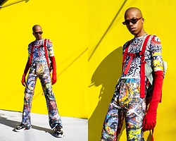 Dominic Grizzelle - Charles Jeffrey Paint Splash Jeans, Charles Jeffrey Graffiti Top, Ash Footwear Atomic Sneakers, Zerouv Skinny Shades - GHETTO SPACE BOY 👽