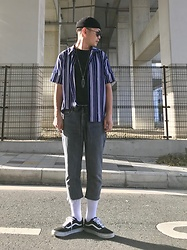 ★masaki★ - Obey Micro Beanie, Ch. Striped Shirts, Levi's® Vintage, Vans Oldskool - Today I'm Wearing