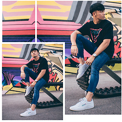 Andre Tan - Guess Oversized T Shirt, Reebok Club C Sneakers - Onto Better Things