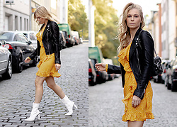 Sunnyinga - Zara Leather Jacket, Na Kd Yellow Dress, Na Kd White Boots, Zara Bag - White boots with a cute yellow dress