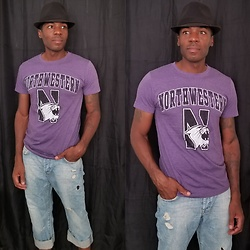 Thomas G - New Agenda By Perrin Northwestern University, Faded Glory Short Brim Fedora, H&M Boyfriend Loose Waist Loose Leg - Go! U Northwestern! - Northwestern Wildcats