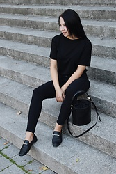Zuza J. - Vagabond Loafers, Mango Bag - All black