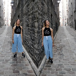 Tiffany M - Topshop Wide Leg Jeans, Shein Plant Halter Top, Nike Air Max - Downtown Alley