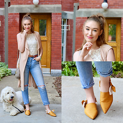 "Taylor Doucette - Boohoo Sleeveless Duster, Citizens Of Humanity Ripped Straight Leg Jeans (Liya), Sam Edelman Mustard Yellow ""Rivers"" Slides - Runaway Kids - Harbour"