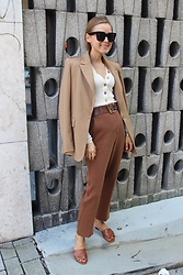 Anna Borisovna - Other Stories Blazer, H&M Top, Asos Gürtel, H&M Pants, Massimo Dutti Schuhe, Céline Sonnenbrille - The Brown Color Palette