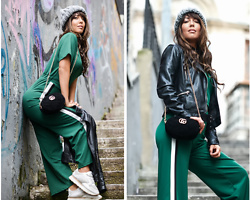 Kaya Peters - Nasty Gal Green Jumpsuit, Gucci Velvet Belt Bag - My favorite season is Fall
