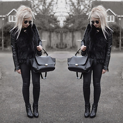 Sammi Jackson - Sheinside Quilted Biker Jacket, Fur Vest, Oasap Trapeze Bag, Topshop Joni Jeans, Office Chunky Boots - BLACK FAUX LEATHER + FUR