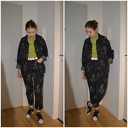 Mucha Lucha - H&M Denim Jacket, Second Hand T Shirt, Asos Belt, H&M Jeans, Adidas Sneakers - Denim set