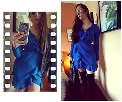 Victoria P - Asos Blue Crossover Dress, Asos Thigh High Boots, Quay Sunglasses - Power