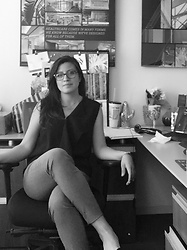 Catherine C - Vince Black Sleeveless Top, Tom Ford Glasses, Gray Pants, Dolce Vita Black Suede Flats - Cluttered desk/mind