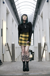Amy Souter - Primark Yellow Tartan Skirt, La Moda Platform Boots, Zara Black Crop Top, Primark Yellow Tinted Glasses - UGH! AS IF!