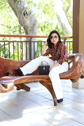 Kristen Tanabe - Yoins Paisley Button Down Blouse, Forever 21 White Corduroy Flare Pants, Forever 21 Boxy Clutch, Balmain Sunglasses, Versus Platform Heels - That '70s Outfit