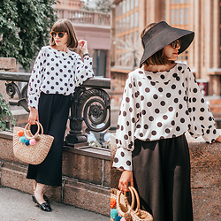 Christina & Karina Vartanovy - Dresslily Black Color Foldable Straw Hat, Dresslily Black&White Polka Dot Blouse, Shein Black Elastic Waist Culotte Pants, Zaful Straw Pom Pom Tote Bag, Asos Loafer Flat Shoes - Kristina // the A team
