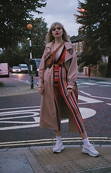 Carla V - Femmeluxefinery Jumpsuit, Zaful Trench, Topshop Sneakers - Rainbows