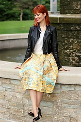 Bleu Avenue - Chic Wish Map Of Paris Skirt - On a Road to No Where