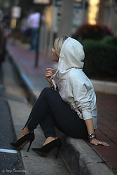Isabel Alexander - Sundaysnyc Grey Hoodie, Asos Black Heels, Aerie Dark Grey Joggers - Sporty Chic for Fall