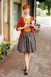 Bleu Avenue - Handmade Autumn Floral Skirt, Qupid Brown Lace Heels, Mak Charter School Cardigan In Rust, Shein Polka Dot Top - Print Mixing