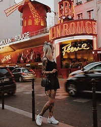 Fisty F - Fila Sneakers, Tezenis Fake Leather Shorts, Black Top, Ring Bag - Life in neons | Moulin Rouge