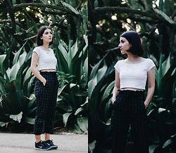Adriana R. - Onecklace Name Necklace, Shein Frilled Waist Grid Pants - Cacti Background + Minimalist Outfit