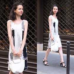 Claire H - Choisy Dress, Longchamp Le Pliage, Mime Et Moi Valley Pomp Heels - An Artist's dress