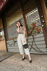 Sami Mauskopf - & Other Stories High Waisted Twill Trousers, The Frankie Shop Croc Bag, Ballerina Heel, The Limited Striped Shirt - Striped Shirt