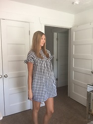 Cindy Batchelor - Gingham Black And White Babydoll Dress - Gingham Black and White Babydoll Dress